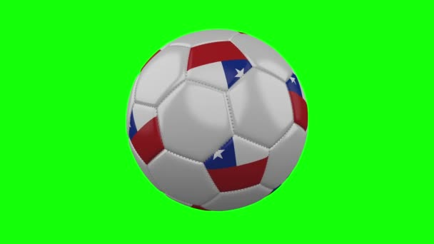 Soccer ball with Chile flag on green chroma key background, loop