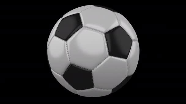 Fotbalový míč se otáčí na průhledném pozadí, 4k záběry s alfa