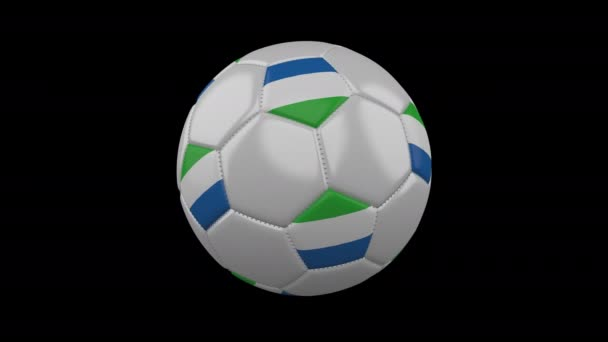 Soccer ball with flag Sierra Leone loop 4k with alpha