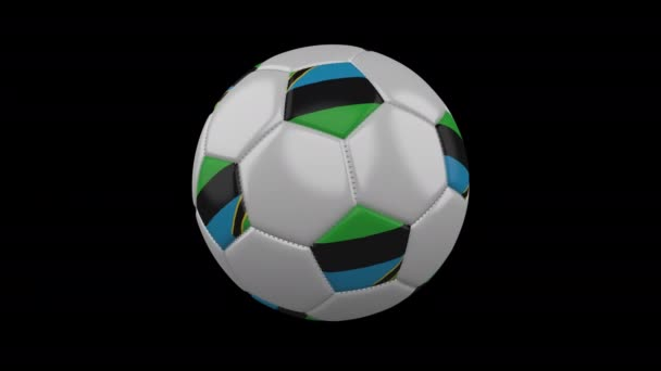 Soccer ball with flag Zanzibar loop 4k with alpha