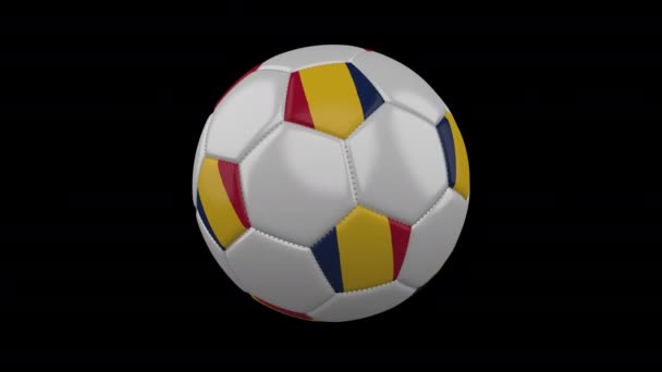 Soccer ball with flag Chad loop 4k with alpha
