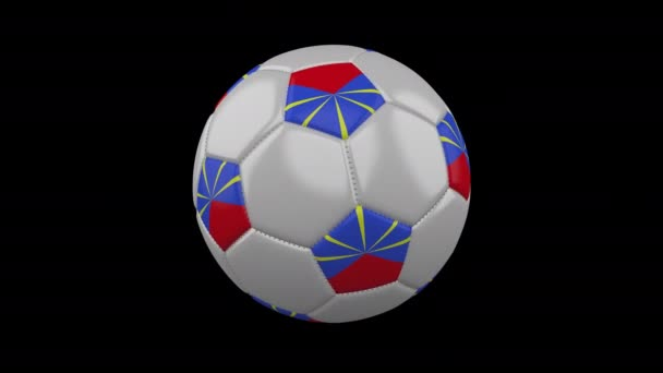 Soccer ball with flag Reunion loop 4k with alpha