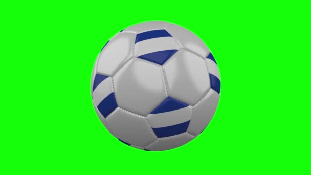 Soccer ball with El Salvador flag on green chroma key, loop