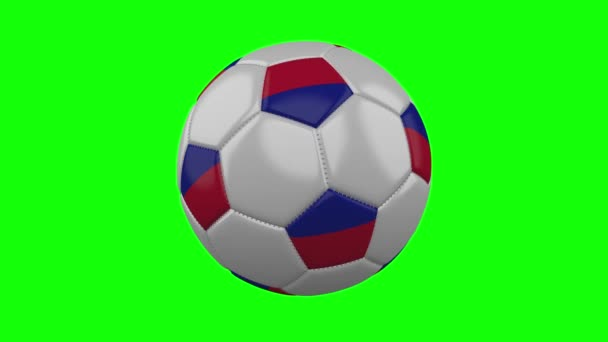 Soccer ball with Haiti flag on green chroma key, loop