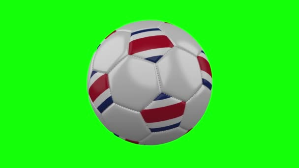 Soccer ball with Costa Rica flag on green chroma key, loop