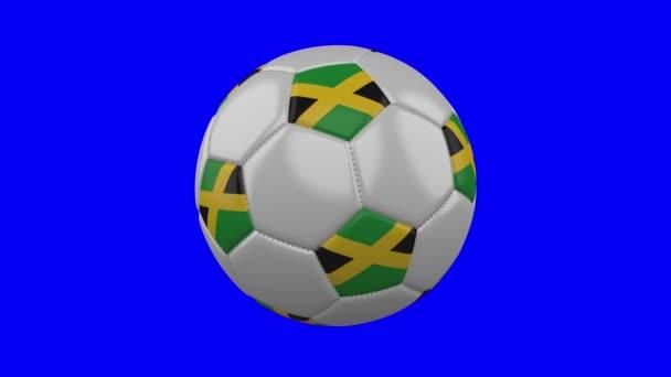 Fotbalový míč s Jamajkovou vlajkou na modrém chromovém klíči, smyčce