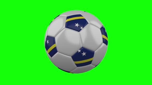 Soccer ball with Curacao flag on green chroma key, loop