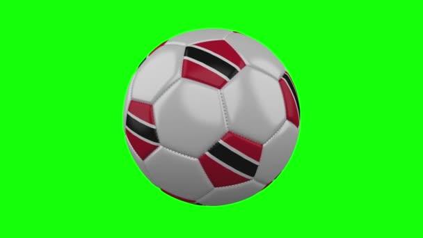 Fotbalový míč s vlajkou Trinidad a Tobago na zeleném klíči Chroma, smyčka