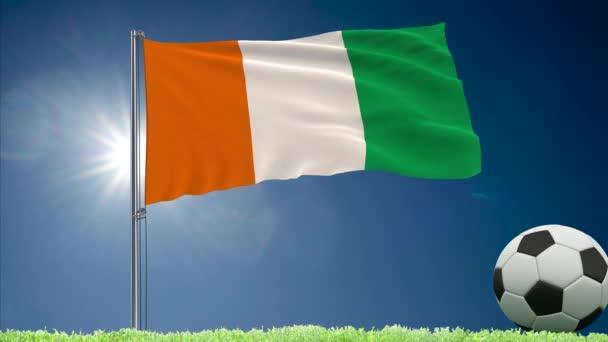 Cote dIvoire-vlajky a fotbalové rolky na Pobřeží slonoviny