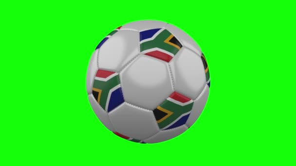 Soccer ball with South Africa flag on green chroma key background, loop