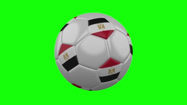 Soccer ball with Egypt flag on green chroma key background, loop