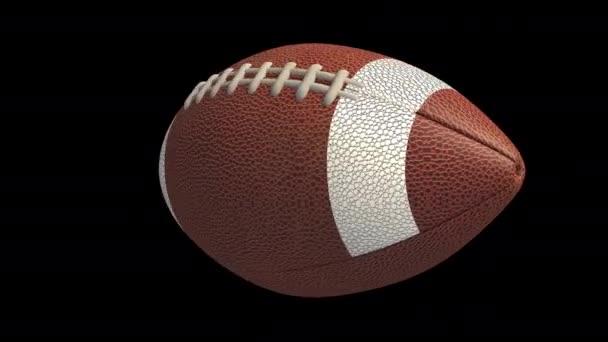 American Football Ball fliegt und dreht sich, 4k Alpha-Schleife