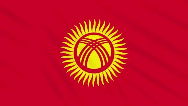 Kyrgyzstan flag waving cloth background, loop