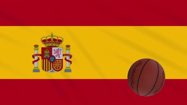 Spain flag wavers and basketball rotates, loop