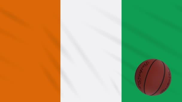 Ivory Coast flag wavers - basketball rotates, loop