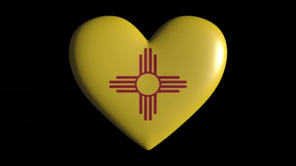 New Mexico heart pulsate isolate on transparent background loop, alpha channel