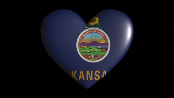 Kansas heart pulsate isolate on transparent background loop, alpha channel