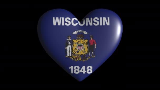 Wisconsin szív pulzátum izolátum átlátszó háttér hurok, alfa csatorna