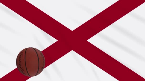 Alabama flag waving and basketball ball rotates, loop