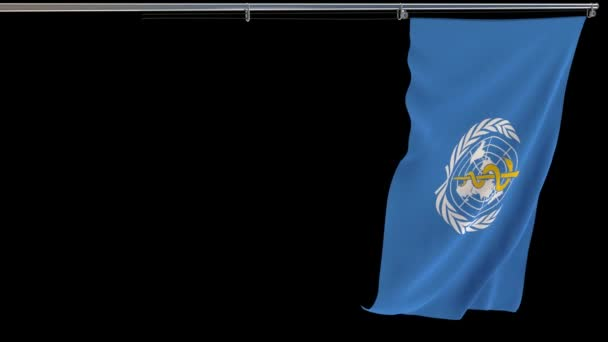 WHO zászló, integetett az átlátszó háttér, prores felvételek alfa csatorna, függőleges videó