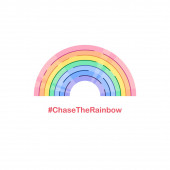 Chase the rainbow motivation hashtag. Social media Covid-19 communication. Stay at home for coronavirus prevention, quarantine will end soon hope. Community support message. Vector illustration