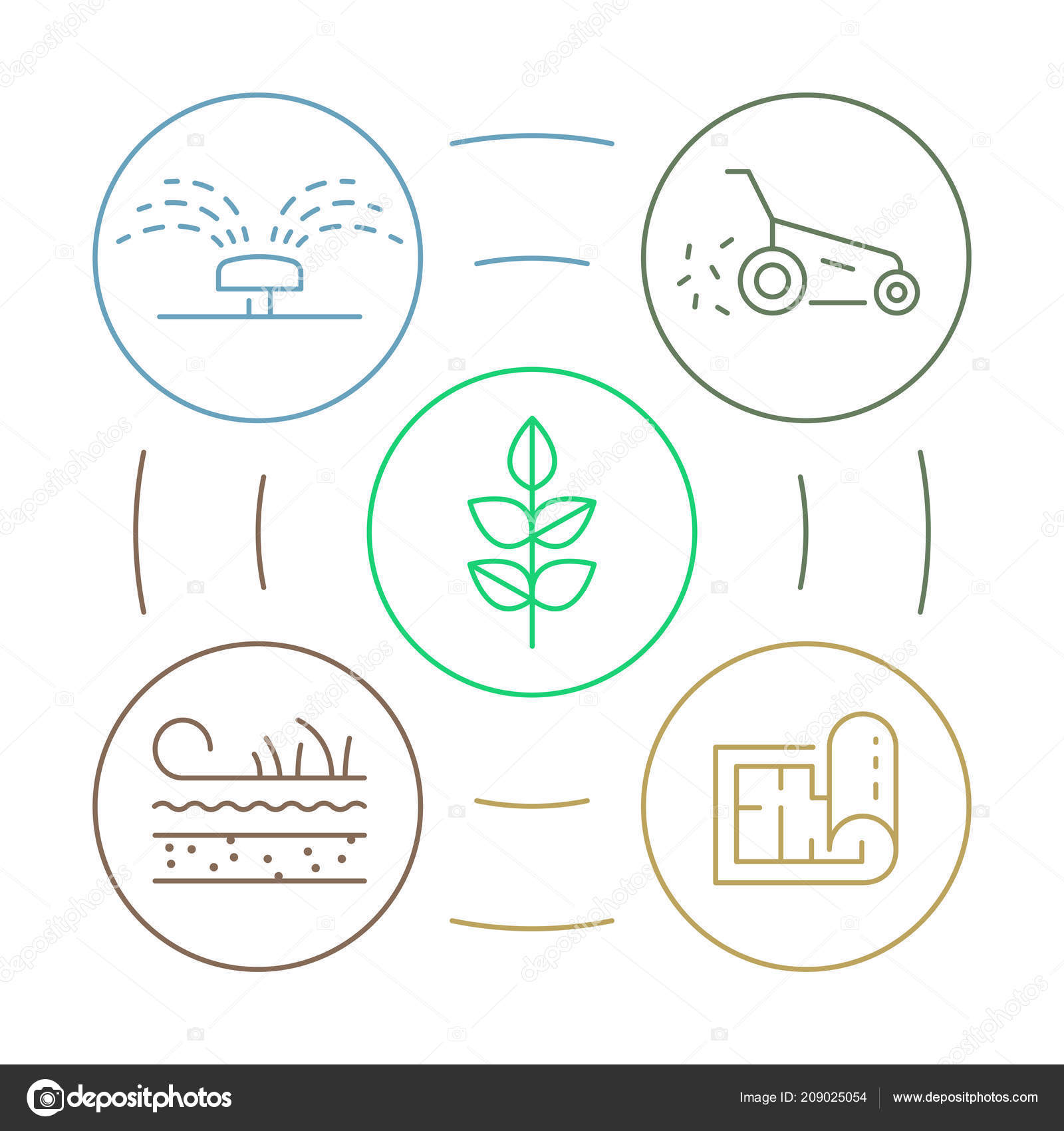 Vector Landscape Design Process Landscaping Garden Line Art Icons