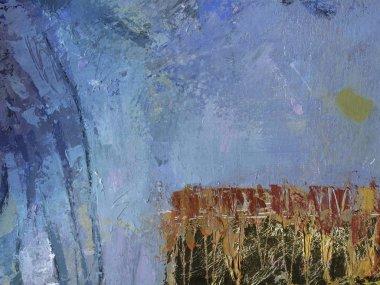 """Картина, постер, плакат, фотообои """"синяя живопись с абстрактным фоном краски и текстурой масла. золотая фольга на голубом фоне с текстурами кисти для горизонтального баннера . картина пейзаж постеры портрет ретр"""", артикул 265448758"""