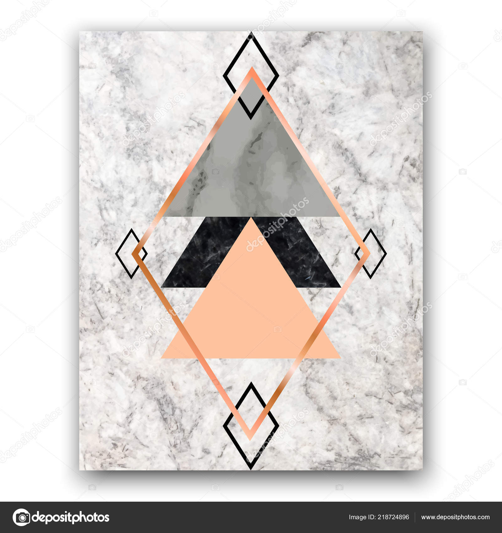 Marble Background With Rose Gold Triangles And Hexagons
