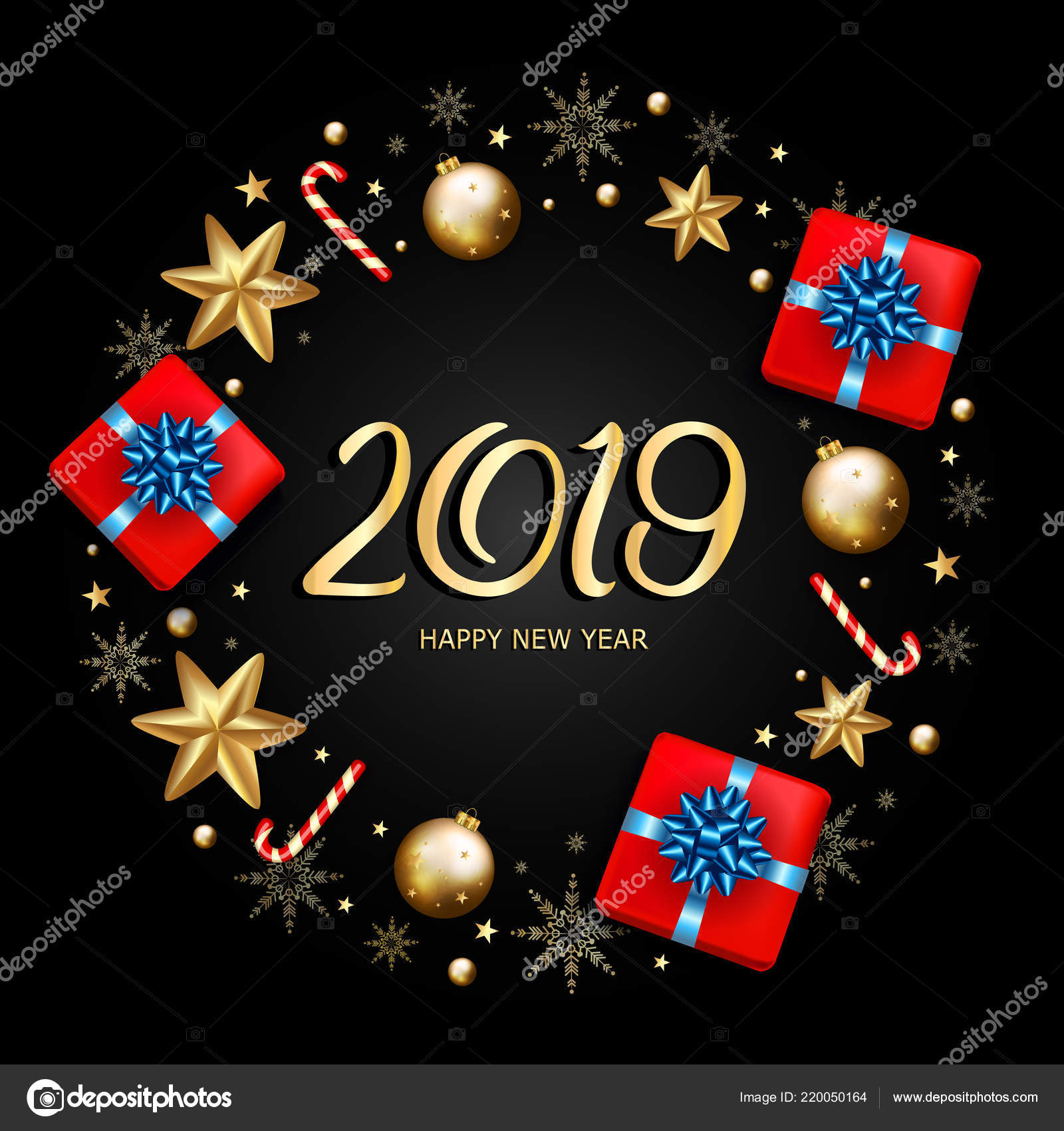2019 new year decorative border made of festive elements on blac stock vector