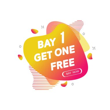 Buy 1 Get 1 Free sale tag. Banner design template for marketing.