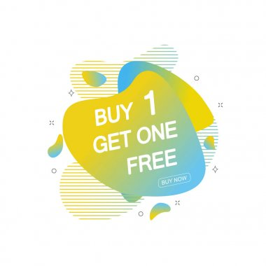 Buy 1 Get 1 Free sale tag. Banner design template for marketing. Special offer promotion or retail.
