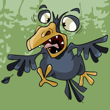 cartoon funny crow rages open toothy beak in the forest