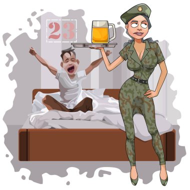 cartoon woman in camouflage uniform congratulates man on February 23