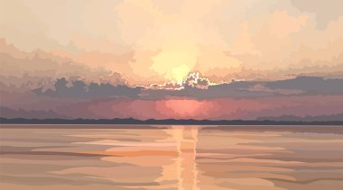 landscape of sunset over the river in gentle pastel colors