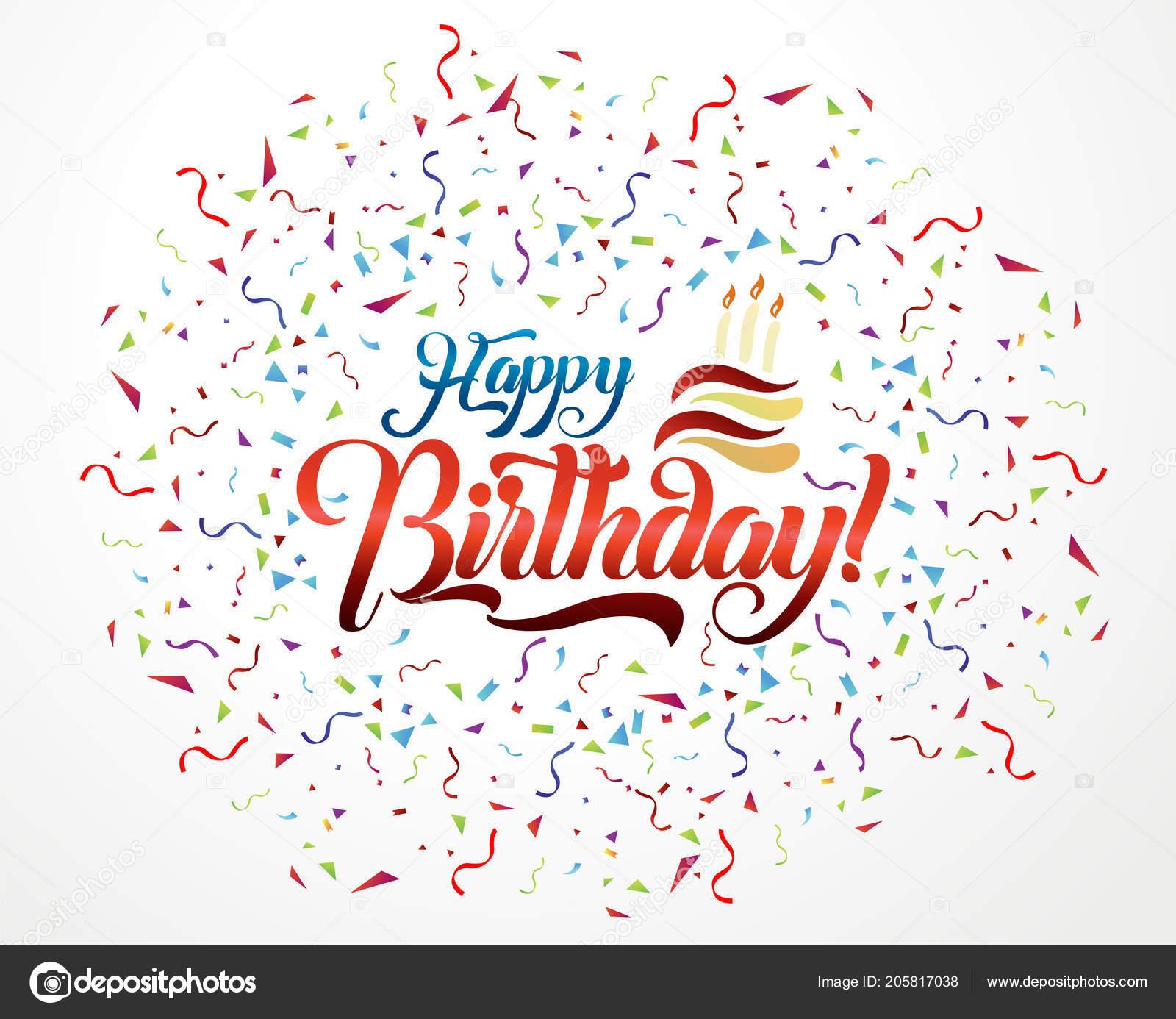 Buon Compleanno Lettering Testo Illustrazione Vettore Disegno Della