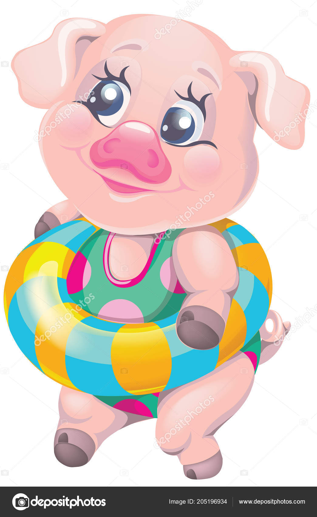 Vector Clipart Cartoon Character Pig Swimsuit Stock Vector