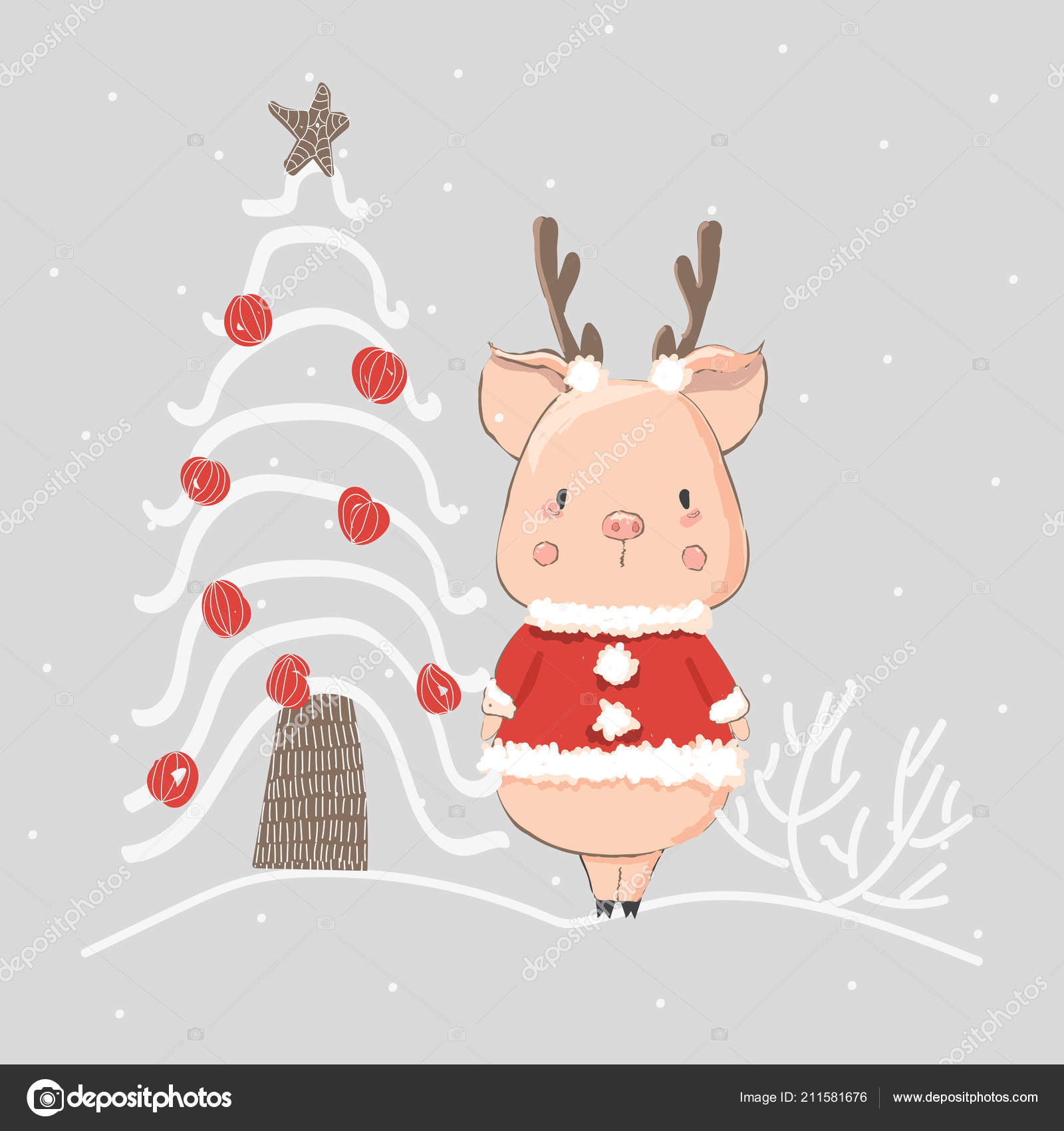 Cute Little Pig Christmas Tree Hand Drawn Vector Cards Greetings ...