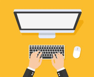 Hands typing text on the computer keyboard - stock vector.