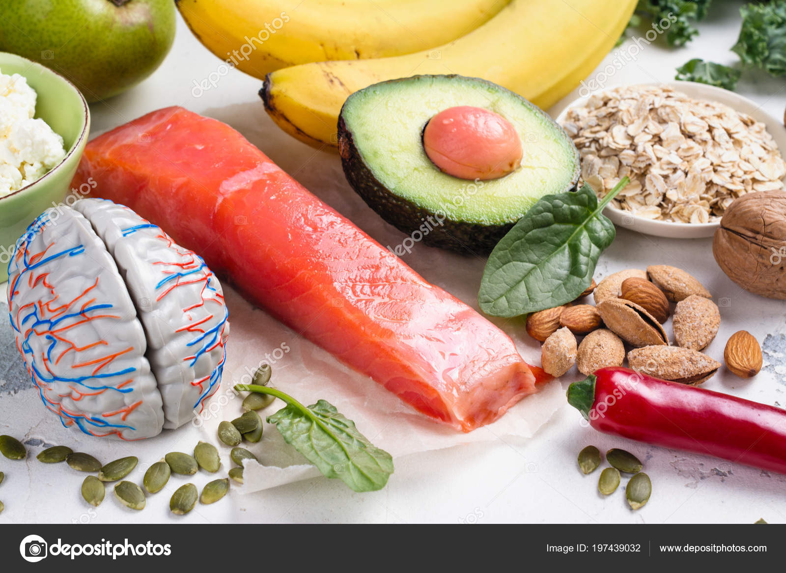 Assortment of food - natural sources of dopamine — Stock Photo