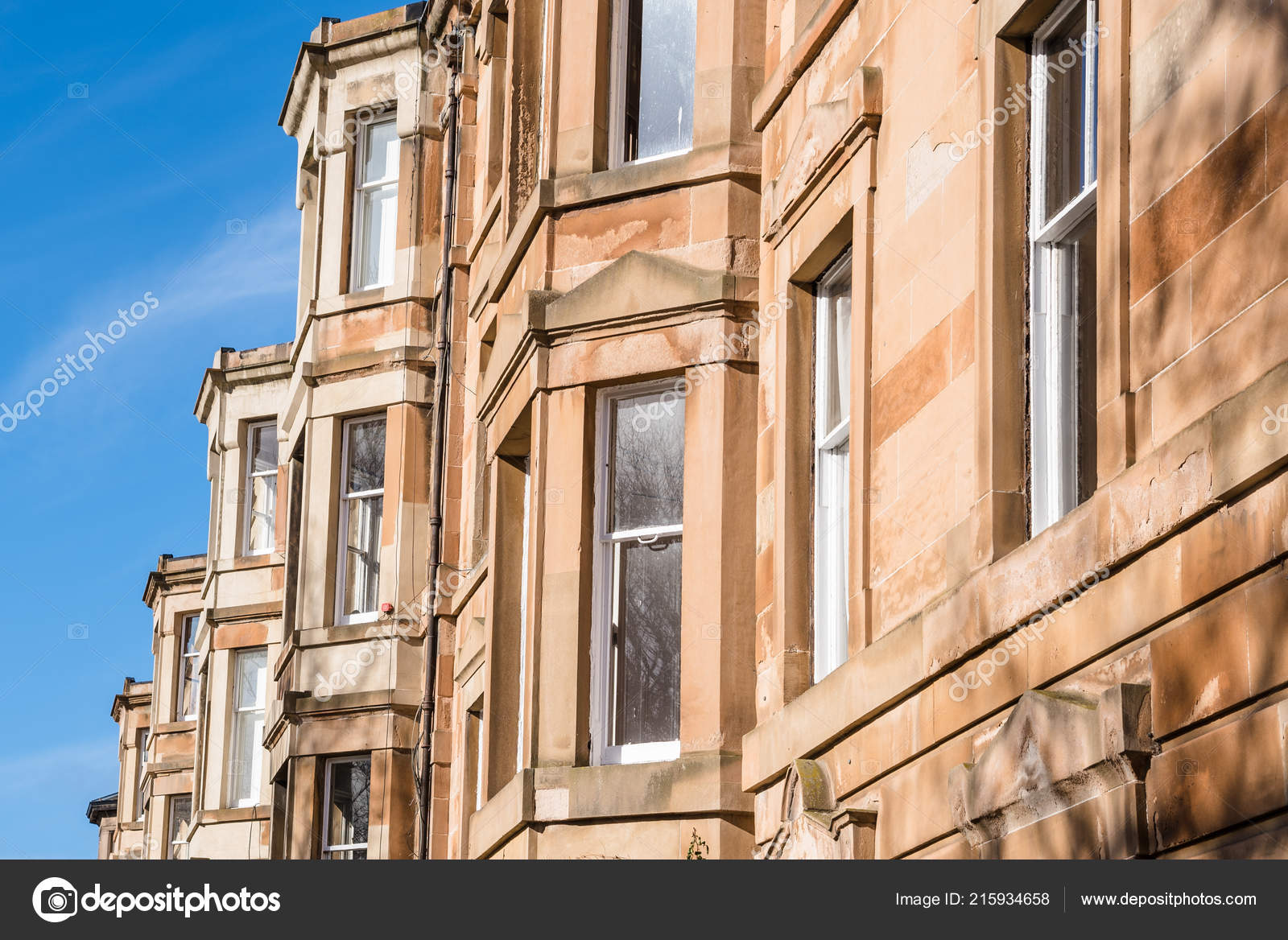 Detail Bow Windows Traditional Sandstonetown Houses Edinburgh City