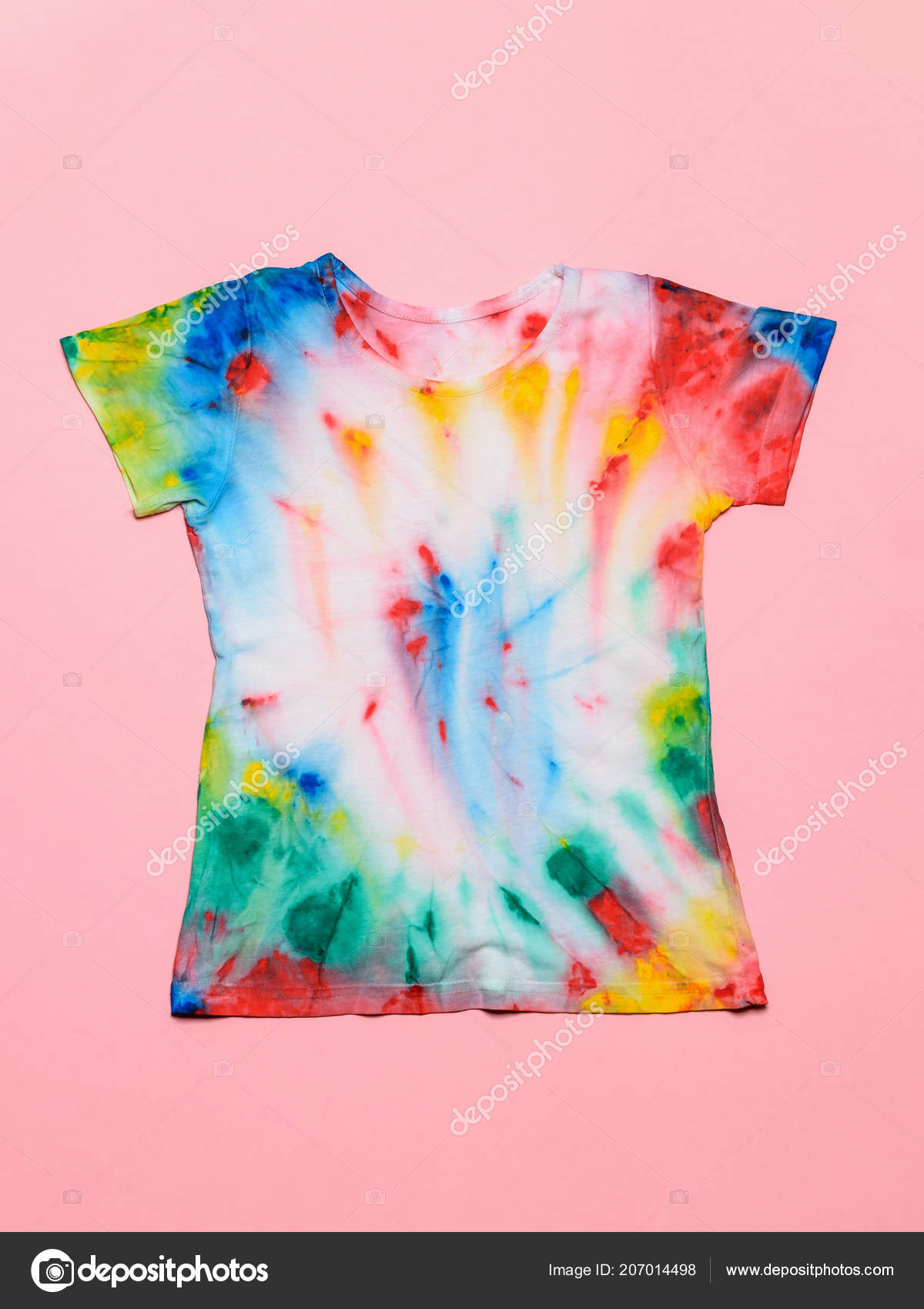 46d442cf T-shirt painted in tie dye style on a pink background. White clothes  painted by hand. Flat lay. Place for text. Pastel color. — Photo by  Vladimir75