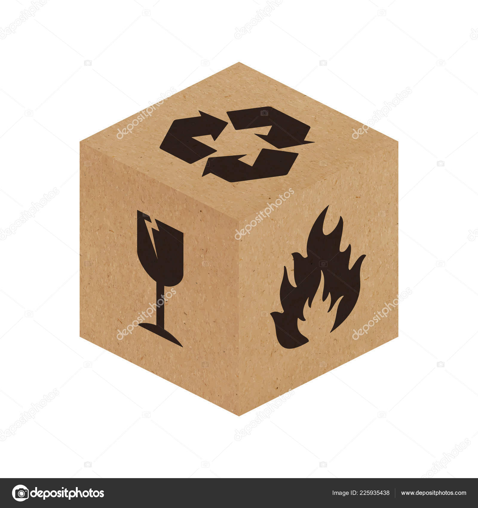 Handle Care Vector Packaging Symbols Cardboard Box Vector