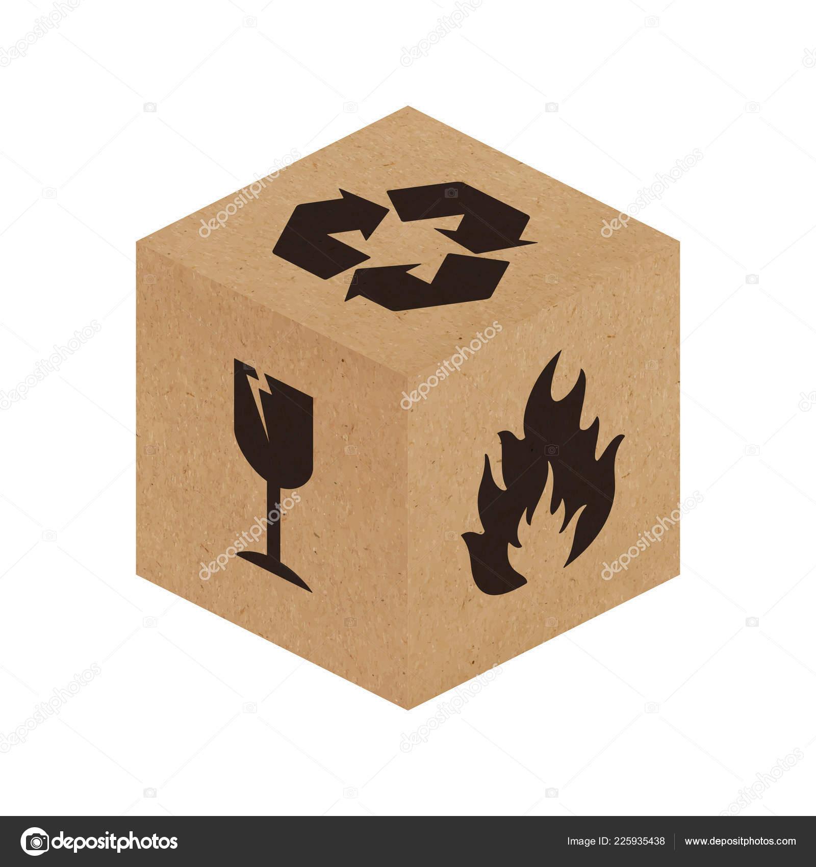 Handle Care Vector Packaging Symbols Cardboard Box Vector Eps