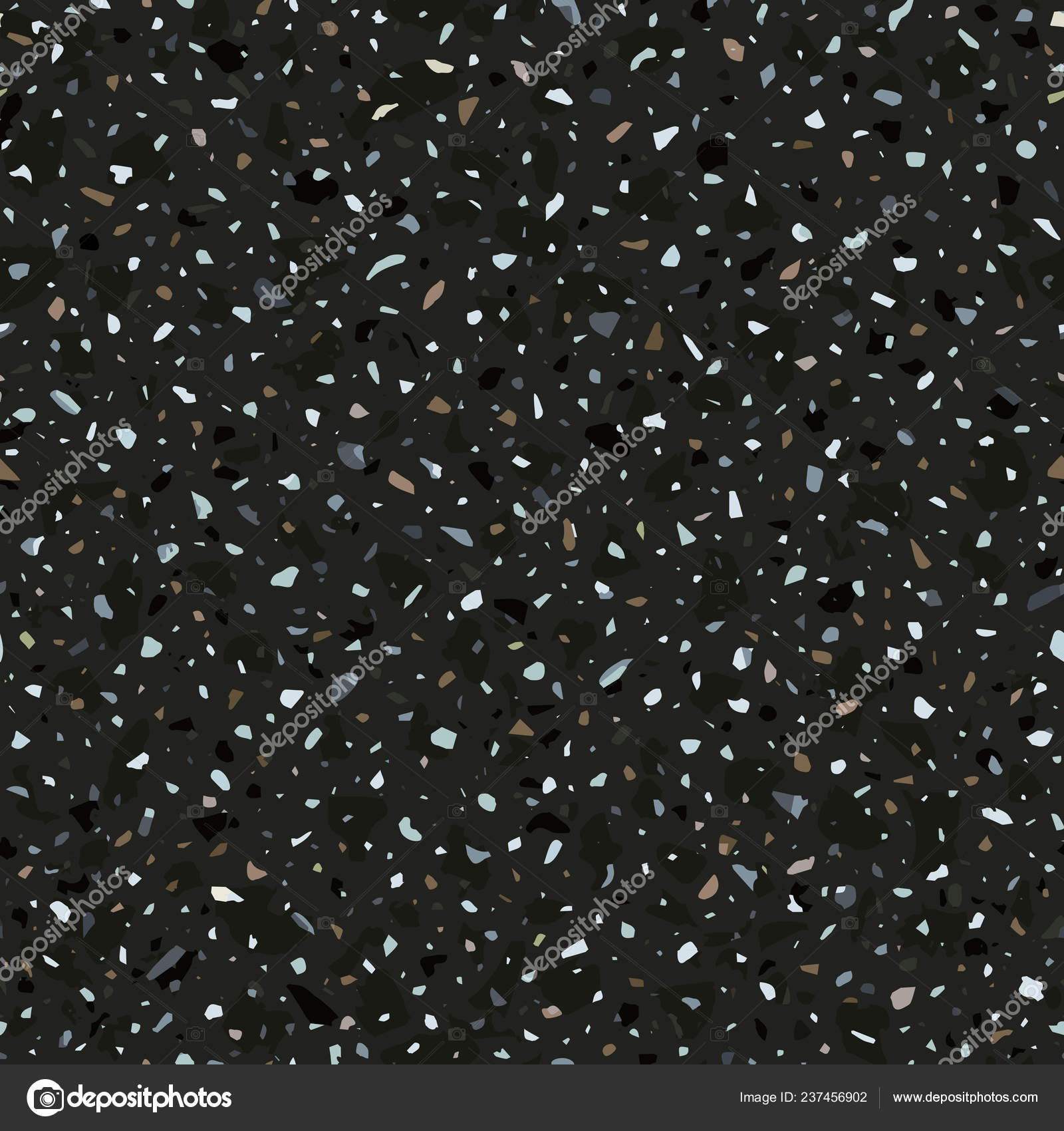 Terrazzo Flooring Vector Seamless Pattern In Dark Colors