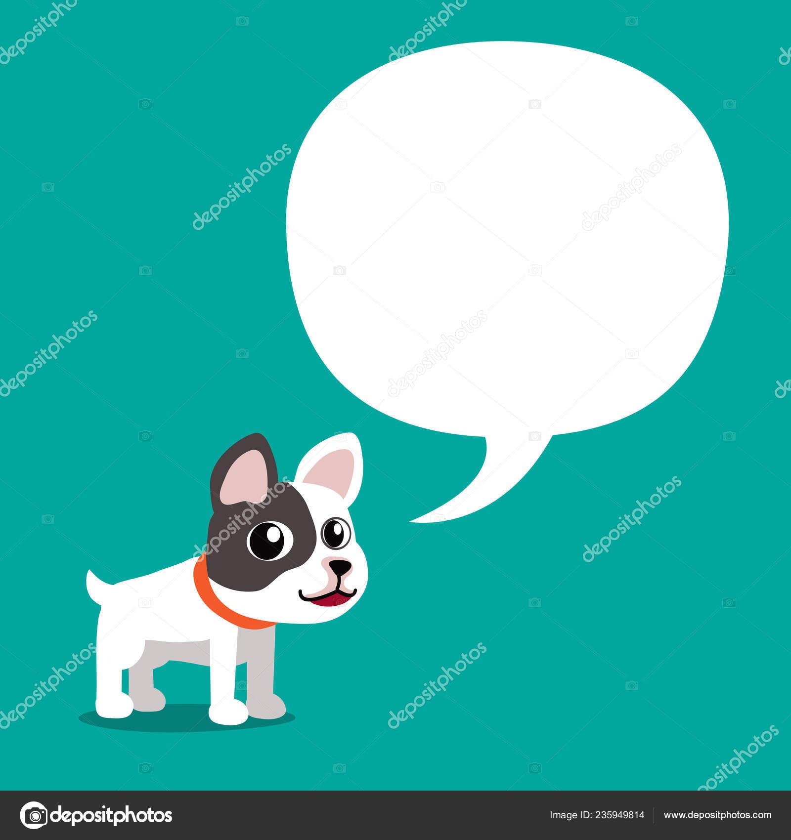 Vettore del fumetto carattere sveglio del bulldog francese con