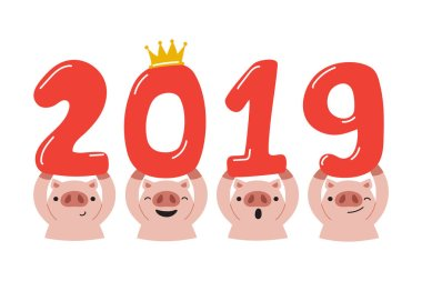 Vector cartoon happy new year 2019 year of pig for design.