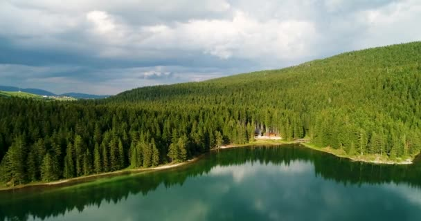 Aerial view of blue lake and green forests on a sunny summer day in Black Lake, Montenegro