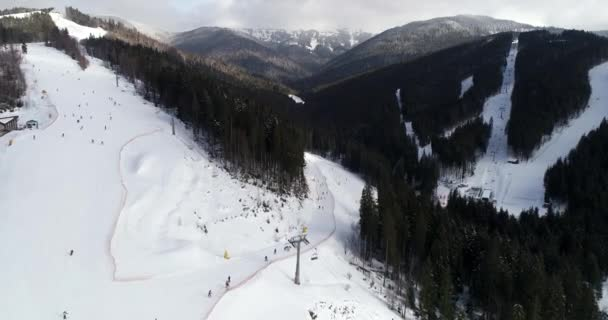 Aerial View of the Ski Resort in Mountains at Winter