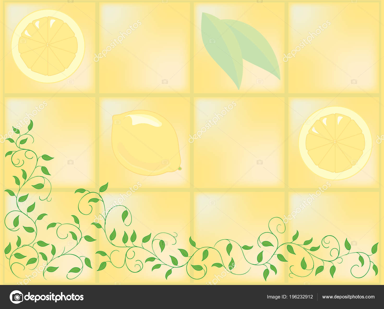 Ceramic Tile And Ivy With Wall Painting Stock Vector Kayocci