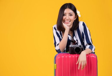Tourist woman in summer casual clothes.Asian Smiling woman .Pass